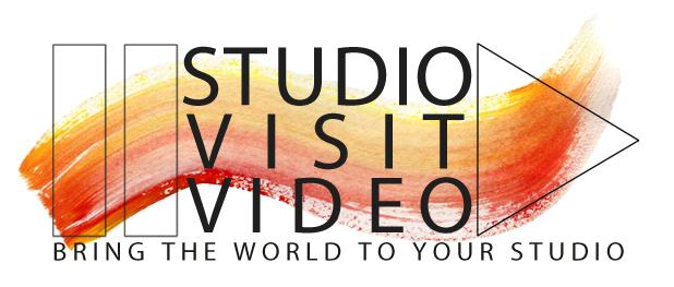 "StudioVisitVideoLOGO w brushstrokes and video player symbols of pause and play and tag line"" document your studio practice"""